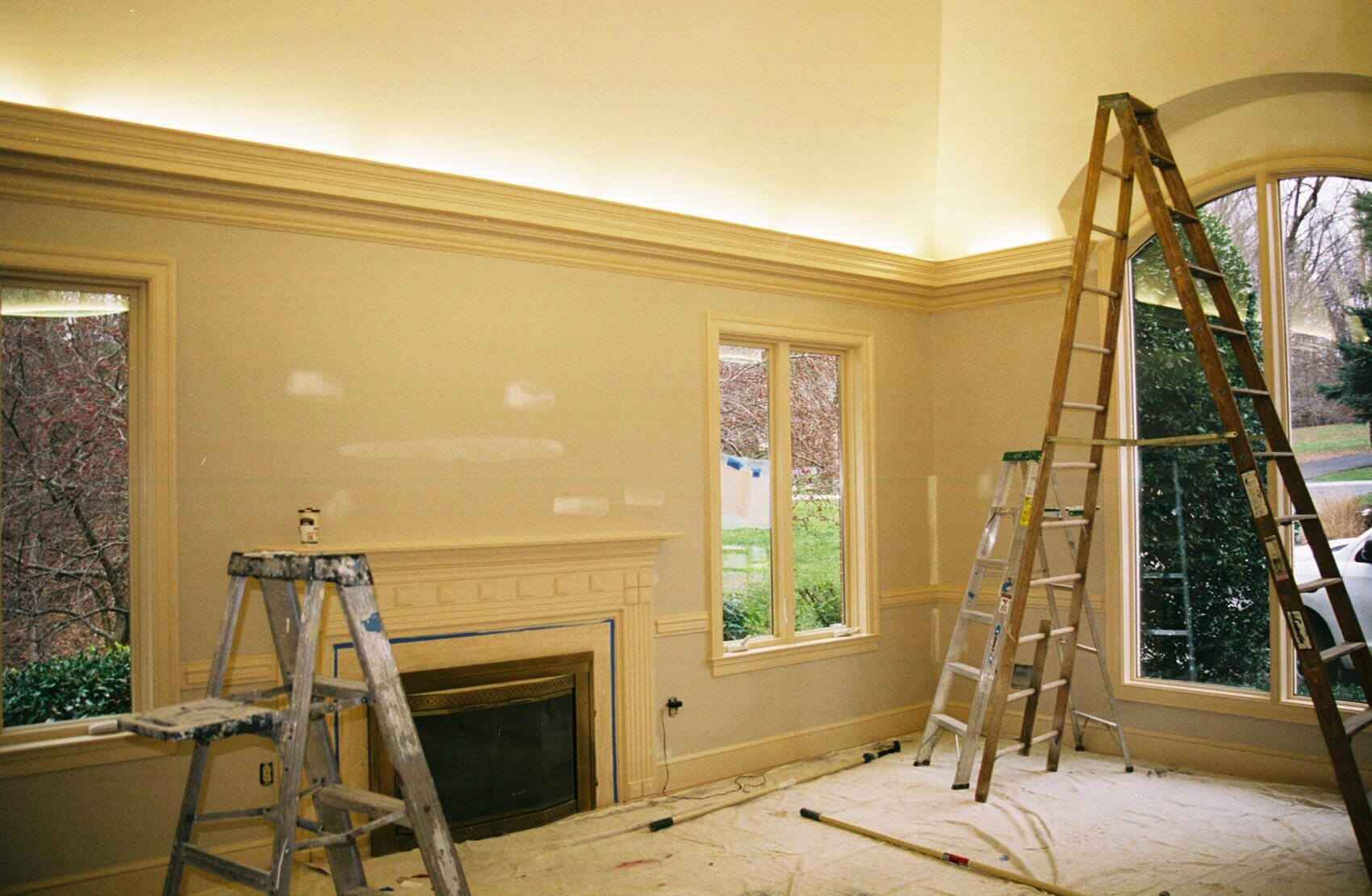 Interior of house being prepped for painting
