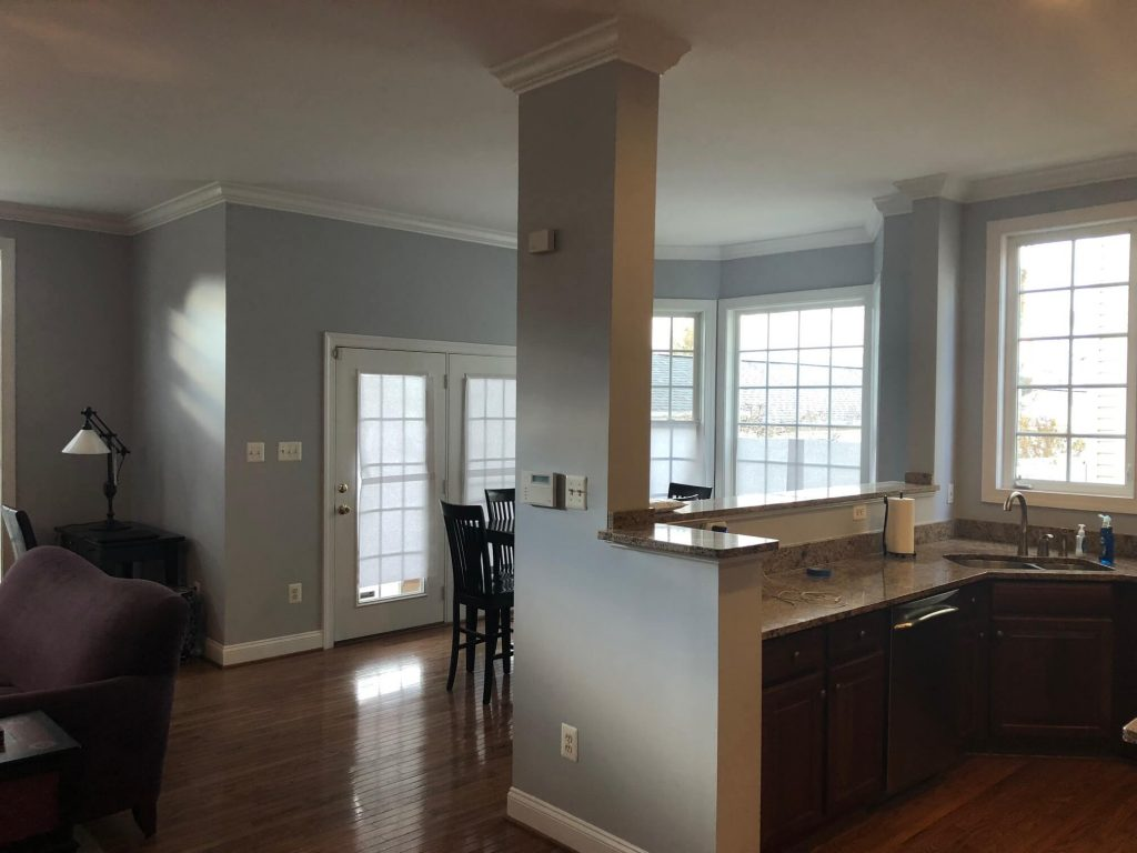 Painted gray walls, white trim in Rockville Maryland