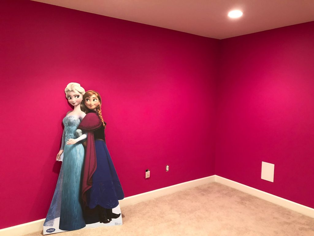 Frozen playroom vibrant painted walls