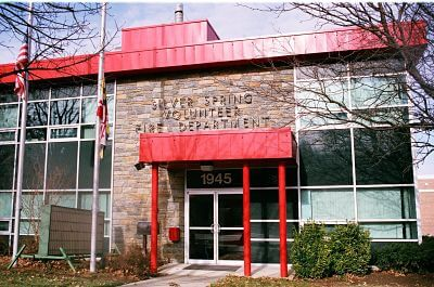 red painted fire station in town of silver spring maryland