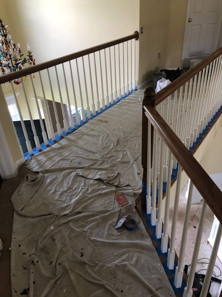 Prepping stair rails for painting