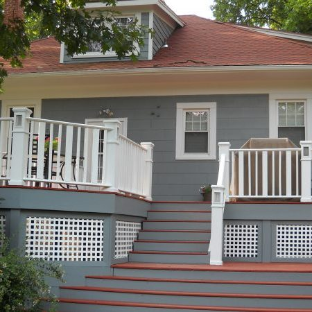 Painted exterior deck and rails in Silver Spring Maryland